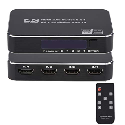 4K HDR HDMI Switch, HDMI Switcher 5x1 5 in 1 Out Ports 4K 60Hz HDMI 2.0 Switcher Selector with IR Remote, Supports Ultra HD Dolby Vision, High Speed (Max to 18.5Gbps), HDR10, HDCP 2.2 & 3D