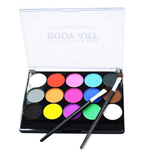 Bodypainting Schminke & Gesicht malen voller Farbe für Kinder Halloween & Karneval Kinder Make-up Palette-Safe & ungiftig Easy Wash, 15 Farben mit zwei Pinsel