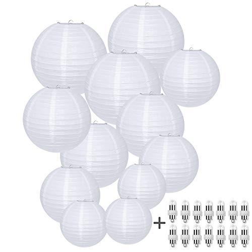 HAUSPROFI Paper Lanterns, 6' 8' 10' 12' Round Paper Lantern with LED Lantern Lights for Indoor and Outdoor Decoration - (Lanterns 12pcs, Warm White LED Bulbs 14pcs)