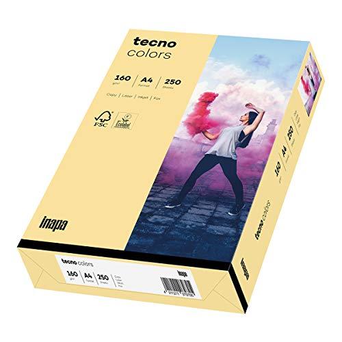 inapa farbiges Druckerpapier, buntes Papier tecno Colors: 160 g/m², A4, 250 Blatt, chamois
