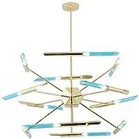24 Lights Sputnik Firefly Chandelier LED G9ペンダントランプ中世の世紀青いシャンデリア120cmゴールデン装飾の天井ライトリビングルームダイニングルーム青い120cm