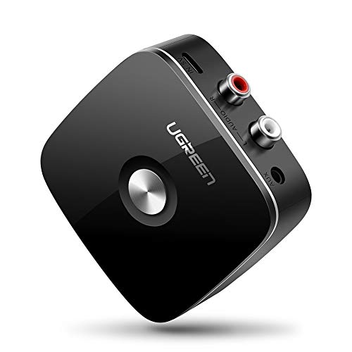 UGREEN Receptor Bluetooth 5.0 con EDR Tecnología, Adaptador Audio Inalámbrico con Cable 2RCA y 3.5mm, Disfruta 8Hrs A2DP HiFi Estéreo Música para Amplificador, Altavoz, Coche, Auricular, Móvil, etc