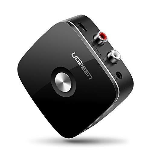 Bluetooth RCA Receptor, UGREEN Bluetooth 4.1 Audio con 3.5mm Jack y 2 RCA Adaptador Audio Bluetooth EDR Integrada para Hi-Fi Amplificador, Altavoces, Cadena de música, Móviles y Tablets