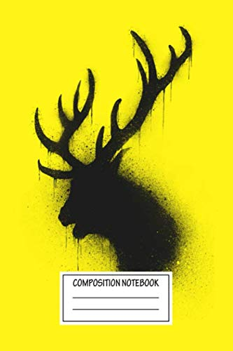 Composition Notebook: Animals Dark Deer Deer Wide Ruled Note Book, Diary, Planner, Journal for Writing