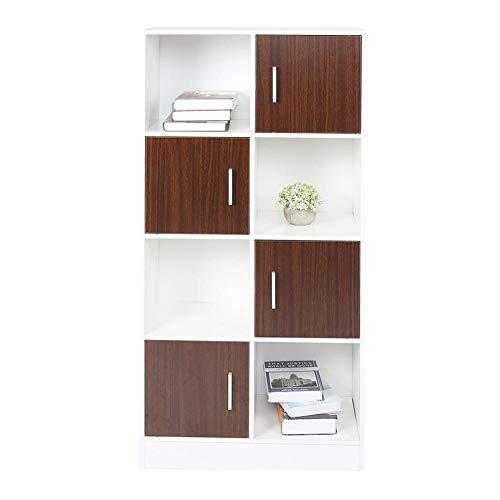 Boekenkast met 4 niveaus, roomdivider, ruimteverdeler, kinderkast, kantoorkast, houten kast, boekenkast met 8 vakken, waarvan 4 met deuren, wit opbergkast, voor werkkamer, woonkamer of kantoor