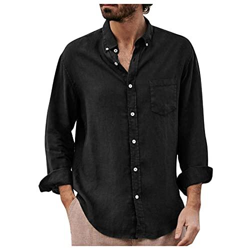 Camisa casual para hombre, camisa de lino para hombre, camisa informal Henley camisa de manga 3/4, corte regular sin cuello, Negro , XL