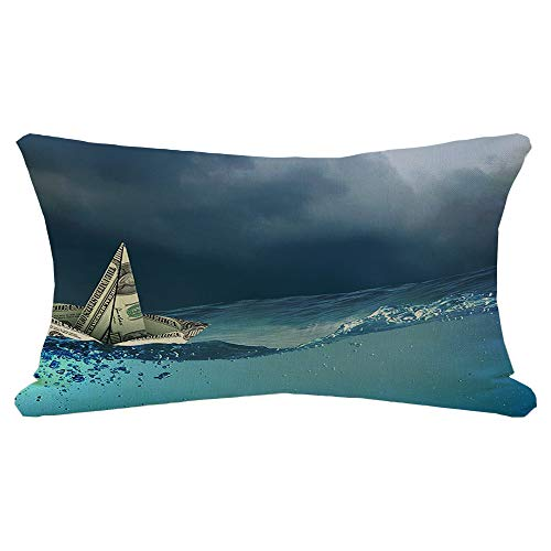Lumbar Pillow Cover Ship Cruise in Made Banking Banknote Floating Water Economy Boat Signs Symbols Business Finance Decorative Fall Linen Pillow Case for Couch Bed Car 12x20 Inch