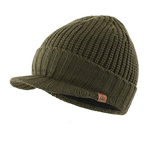 Home Prefer Men's Cuff Beanie Cap with Visor Winter Skull Beanie Warm Thick Knit Beanie Hat Army Green