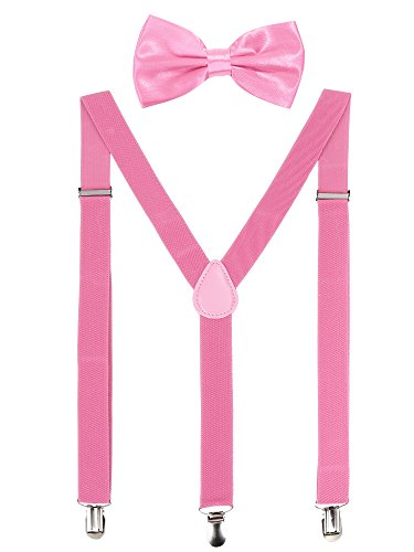 Suspender Bow Tie Set Clip On Y Shape Adjustable Braces, 80s Costume Suspenders Shoulder Straps for Halloween Cosplay Party (Pink)