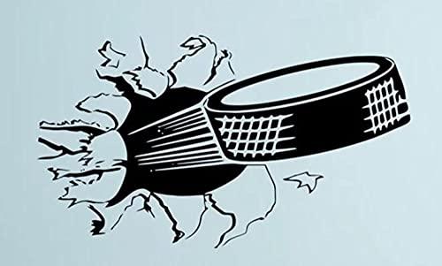 Etiqueta de la pared calcomanía Calcomanía de arte de hockey sobre hielo deportivo, pegatina de vinilo de pared con rotura de disco, póster deportivo impermeable de PVC extraíble 55x98cm
