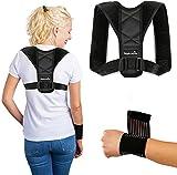 Nakosite POST2433 - Correa para corrector de postura de clavija para mujeres y hombres bajo o sobre la ropa. Alivio del dolor de hombro, cuello y espalda. Color negro.