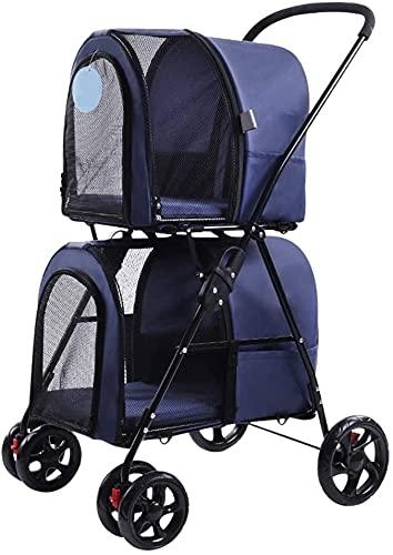 Fácil plegado doble cochecito de perro PET engranaje carro con espacio grande, carro de mascotas para en el camino, la mascota puede caminar/out fácilmente, dos (Color : Blue)