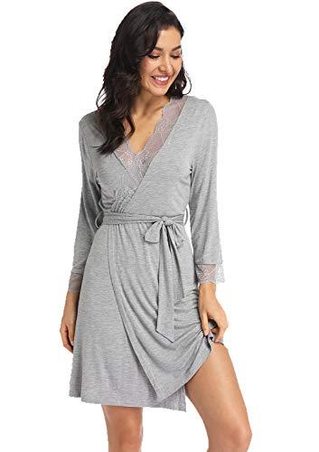 Ritera Damen Bademantel Morgenmantel sexy langrobe Kimono Saunamantel Negligee Mit V-Ausschnitt Sommer,Grau,XL