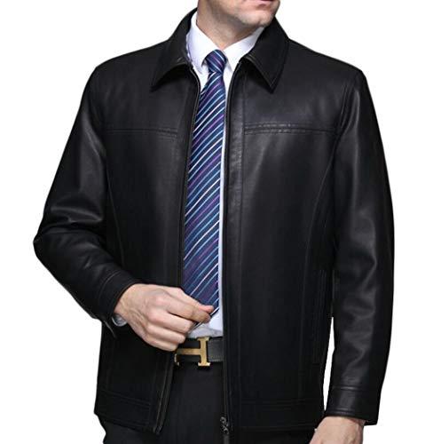 PFSYR Veste en Cuir pour Hommes, col Montant Mode Manteau en Cuir véritable de Haute qualité, Automne et Hiver Chaud et Confortable (Couleur : Noir, Taille : XL)
