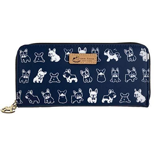 Puppy Waterproof Uma Hana Women's Long Wallet, Card Money & Phone Organizer, Cute Fashionable Dog Lover Gift (Blue Frenchie Puppy)