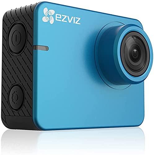 Ezviz S2 Lite - Cámara de acción Deportiva, WiFi FHD 1080p 60 fps, 8 MP, BLE 4.0, Modo de conducción, Soporte MicroSD hasta 256 GB, Azul