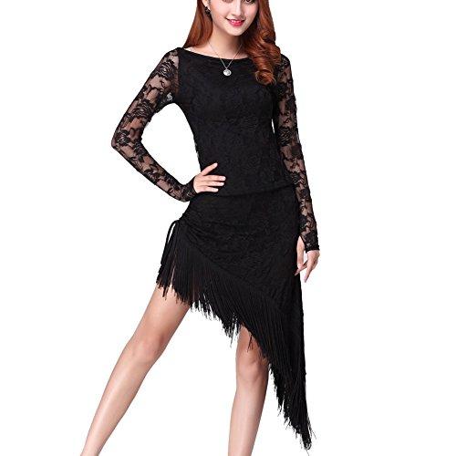 Doubleer Frauen Latein Tanzen Kleid für Frau, Lange Ärmelspitze Quasseltanz Kleidung unregelmäßig Saum Damen Party Tanzbekleidung Tanzende Kleidung