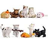 Kimkoala Miniature Cats Toy Decoration Figurines, 10Pcs Cute Naughty Cats Animal Accessories for Miniature Micro Landscaping Fairy Garden Decoration Home Houses Decor Ornament Kids Gifts