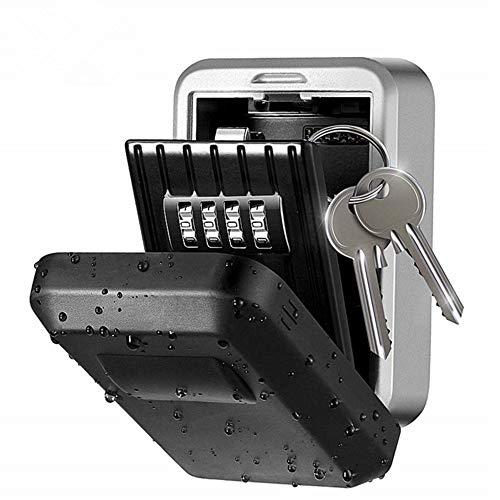 Loboo Idea Outdoor Rostfrei/Wasserdicht Wandmontierter Schlüsseltresor 4-stellige Kombination Passwort Schlüsselhalter Tresor Aufbewahrungsbox Aufbewahrungsbox Organizer Case