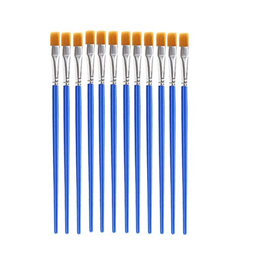12pcs Nylon Hair Detail Paint Brush Children DIY Art Supplies Tool Watercolor Artist Painting Brush Art Stationery for Watercolor Painting, Model (Color : Flat)