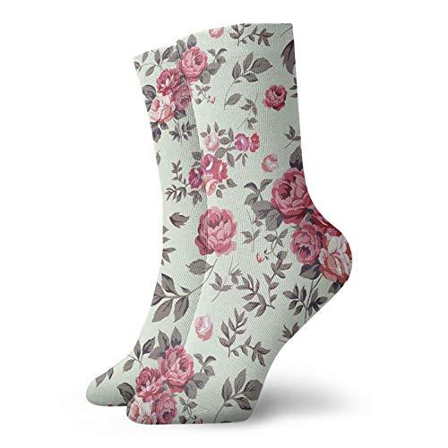 LLeaf Calcetines deportivos Calcetines deportivos transpirables y cómodos con rosas y hojas Calcetines deportivos para exteriores