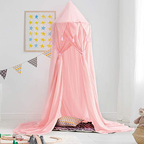 Didihou Bed Canopy for Girls Mosquito Net Princess Bed Canopy Hanging Play Tent Bed Netting for Kids Playing Reading Corner for Baby Boys and Girls (Chiffon-Pink)