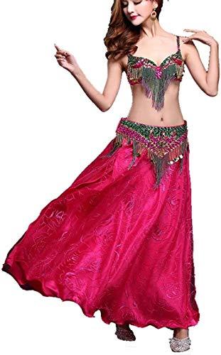 ZHANG Vestido De Baile para Mujer Danza del Vientre Danza India Falda De Baile con Borlas Sujetador Y Cinturn Profesional,Red-Small