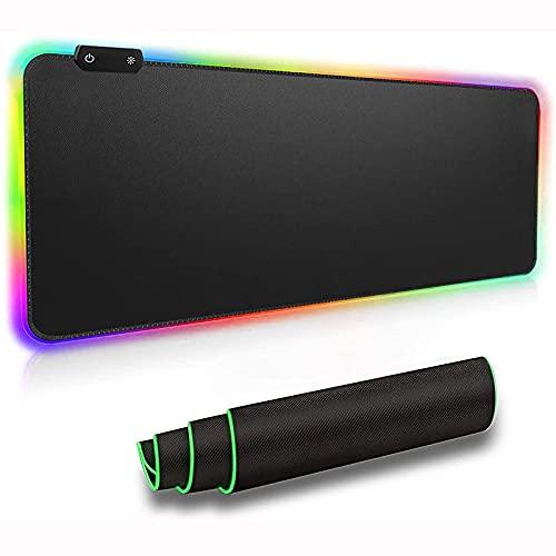 HDHUIXS RGB Gaming Almohadilla de ratón Grande, LED XXL Eterna extendida Alfombrilla de ratón Espesa y Plegable Bordes cosidos Anti-Fray para el Teclado, para portátil/Teclado/Mouse/Desktop