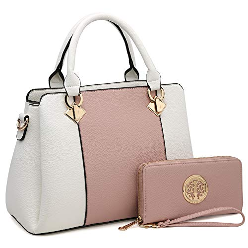 3 Compartments Handbags for Women Medium Shoulder Bags Tote Purse Top Handle Satchel with Matching Wallet (Pink/White)
