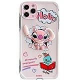 Soft TPU Phone Case for Apple iPhone 11 iPhone11 Stitch Girlfriend Angel Pink Scrump Walt Disney Disneyland Cartoon Lovely Cute Fun Skidproof Kids Girls Teens Daughter