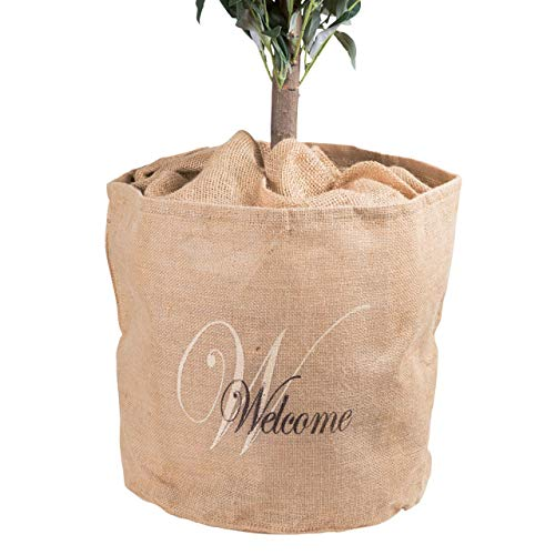 AFP Jute-Übertopf Welcome Natur, Dekorativer Blickfang, schützt im Winter Kübelpflanzen vor Frost. Winterschutz Pflanzen / 2 Jutesäckchen Gratis