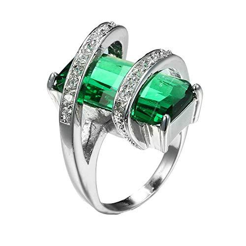 Beydodo Anillos Mujer Chapado en Plata Anillos Mujer de Compromiso Verde Geométrico Rectangular Cristal Circonita Verde Talla 15