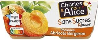 Charles & Alice Desserts fruités pommes/abricots Bergeron, sans sucres ajoutés - Les 4 pots de 100g