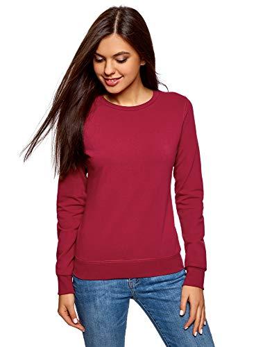 oodji Ultra Damen Baumwoll-Sweatshirt Basic, Rot, DE 38 / EU 40 / M