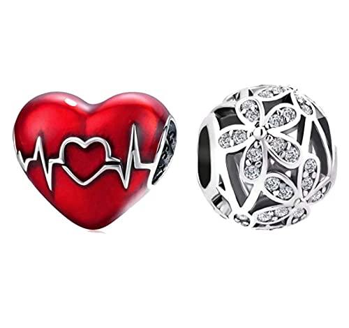 Marni's - 2 Charms Pandora Style, un Corazón Rojo y una Bolita...