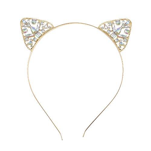 Gold Metal Tiara Headband Cute Cat Ears Hair Hoop Glitter Women Headwear Party Decoration Headdress (Gold Cat Ears)