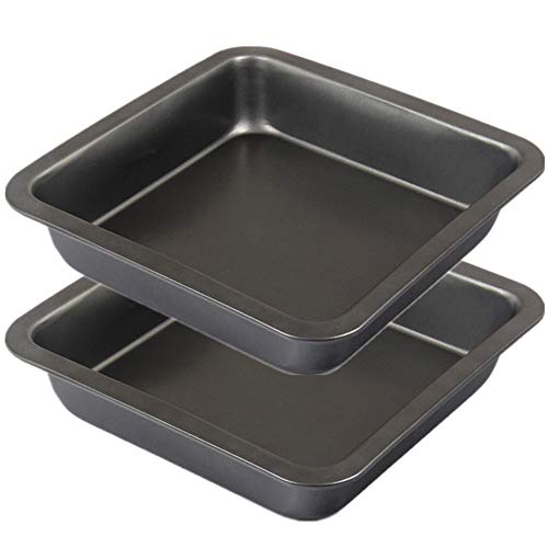 Mokpi Nonstick Square Cake Baking Pans Deep Cookie Sheets Set for Oven Premium Baking Tray Bakeware, Set of 2 (7 inch, Black)