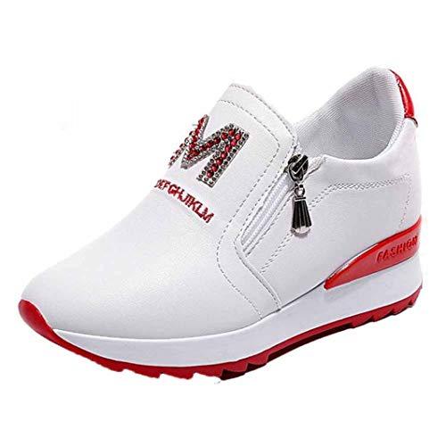 Dames Hoge Platform Sneakers Ademende Rits Instappers Loafers Hoogte Toenemende Casual Schoenen Spring Chunky Swing Trainers