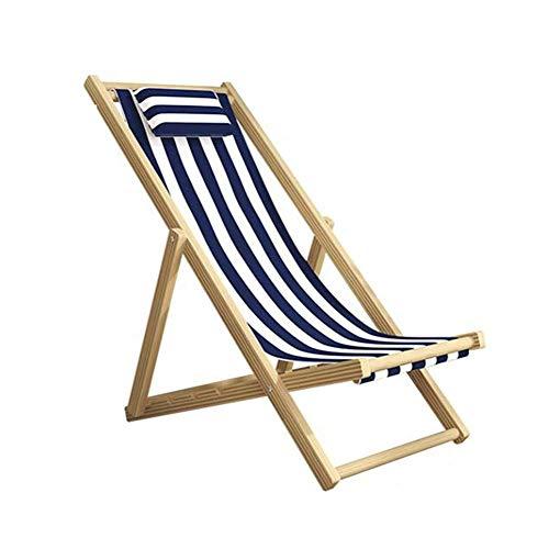 LLSS Sillón reclinable de Lona Plegable, Silla de Playa de Madera Maciza, Silla de balcón, Silla de jardín portátil, sin apoyabrazos