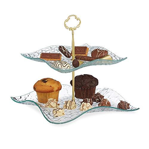 Relaxdays Etagere 2-stöckig, Snacks, Kekse & Muffins, eckig, Glas & Metall, Servierständer, 25x24x24cm, transparent/gold