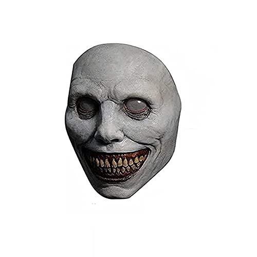 KJSDHAE Máscara de Halloween espeluznante verde exorcista sonriendo demonios el malvado Cosplay Props,espeluznante máscara de Halloween, máscara de demonio sonriente-blanco_23cm