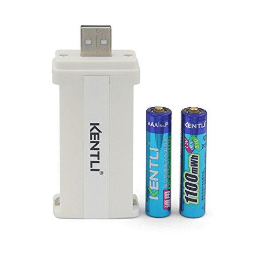 KENTLI 2 Ports USB Protable AAA AA Li Charger + 2PCS 1.5V 1100mWh Kentli Lithium Li-ion Rechargeable AAA Li-Polymer Batteries