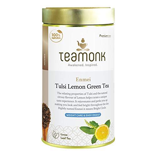 Teamonk High Mountain Basil Tulsi Lemon Green Tea Loose Leaf (62 Cups) | 100% Natural Tulsi Lemon Tea – 125 g
