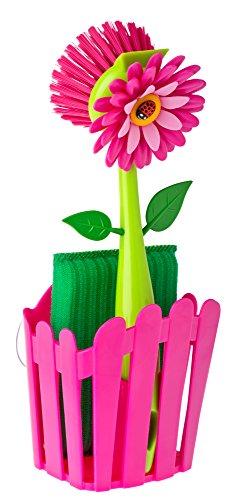 VIGAR Flower Power Set Fregador con Cepillo y Estropajo de Color Magenta, Multicolore, Rosa, Dimensiones: 11 x 6,5 x 25 cm