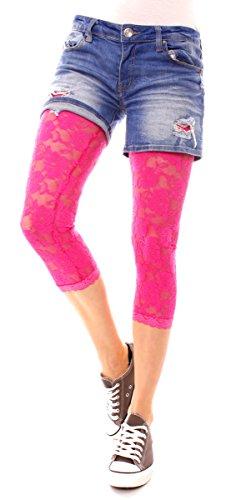 Damen Legging transparent Lingerie Spitzenleggings durchsichtig 3/4 lang aus Rosen Spitze Leggins One Size Uni Pink