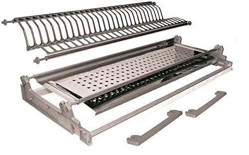 Inox - Escurreplatos para mueble con sujeción de muelles de 76 ml de acero inoxidable con estructura fabricada en Italia