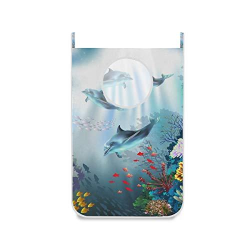 XiangHeFu Bolsa de Tela Cesta Plegable Cesto de la Ropa Plegable Mar Océano Mundo Submarino Delfines Animal Planta Colorido Colgante de Puerta Grande