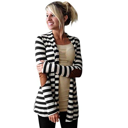 Sinma Clearance Women Fashion Striped Patchwork Cardigan Long Sleeve Coat Outwear (L, Black)