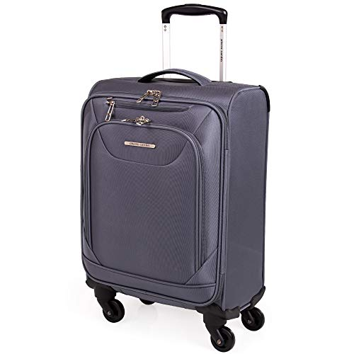 Soft Sided 55cm Suitcase with Spinner Wheels - KLM Air France Cabin Approved Luggage by Pierre Cardin | Fits 55x35x25 Sizing Cage | Light 2.5kg 22' 39L (Small, Grey)