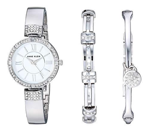 Anne Klein Women's AK/3295SVST Swarovski Crystal Accented Silver-Tone Bangle Watch and Bracelet Set